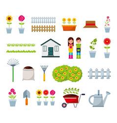 gardeners and garden bundle icons vector image