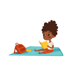Girl reading afroamerican child with book vector