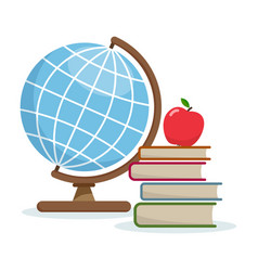 Globe and books vector