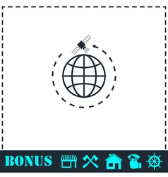 Globe symbol with satellites icon flat vector