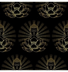Gold Buddha and Lotus with light seamless pattern vector