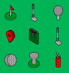 golf flat outline isometric set vector image