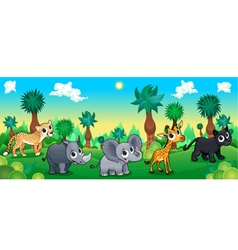 Green forest with wild animals vector