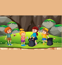 group kids picking up rubbish vector image