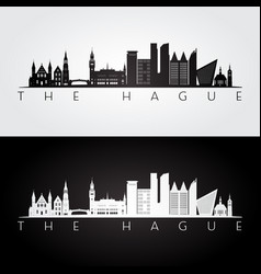 hague skyline and landmarks silhouette vector image