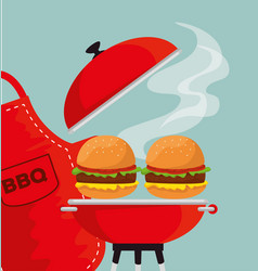 hamburgers in the grill to the bbp sauce and apron vector image