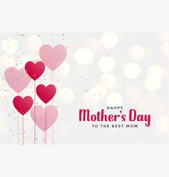 Happy mothers day background with heart balloons vector