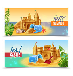hello summer realistic banners vector image