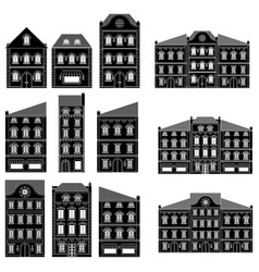 houses collection bold european buildings vector image