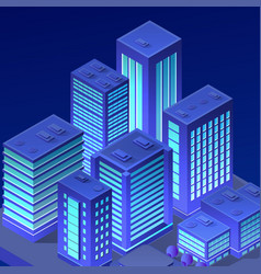 isometric city neon night ultraviolet 3d vector image