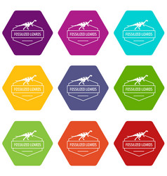 jurassic lizard icons set 9 vector image