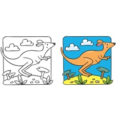 Little kangaroo coloring book vector