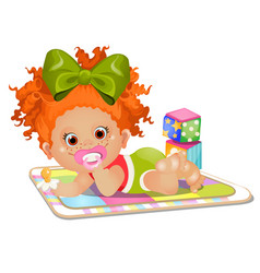 Little red-haired girl sucks a pacifier lying vector