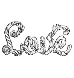 love unique lettering made in hand drawn line vector image
