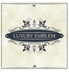 Luxury emblem swirl ornament typographic design vector