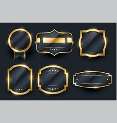 luxury golden badge and labels set design vector image