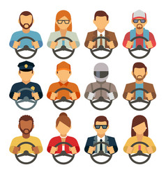 Man and woman drivers flat icons vector