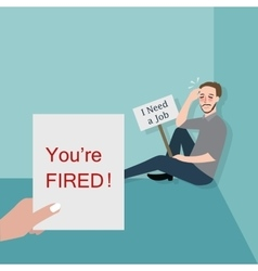 man fired looking for a job vector image