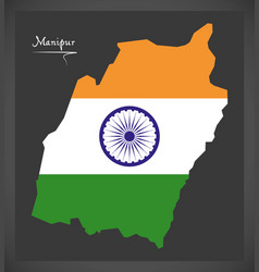 Manipur map with indian national flag vector