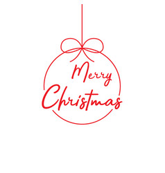 merry christmas lettering template red template vector image