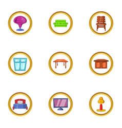Modern furniture icon set cartoon style vector