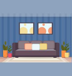 Modern home living room interior design empty vector