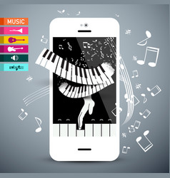 Music icons with keyboard app on cellphone vector
