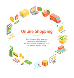online shopping banner card circle isometric view vector image