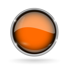 Orange button with chrome frame round glass shiny vector