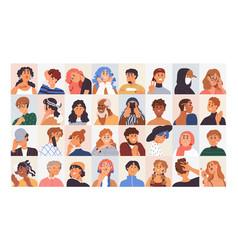 people avatars set modern head portraits vector image