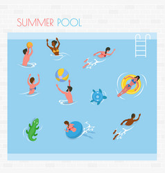 people swimming and playing in pool summer vector image