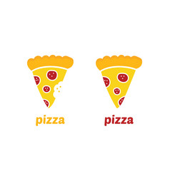 Pepperoni pizza slice icons vector