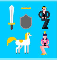 prince and princess set shield and sword crown vector image