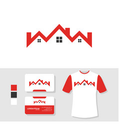 real estate house logo design with business card vector image
