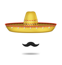 realistic 3d detailed mexican sombrero hat and vector image