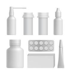 realistic medical bottle mock up set vector image