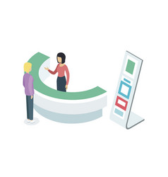 Reception counter desk isometric 3d element vector