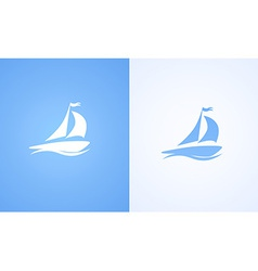 Sailboat on ocean wave vector