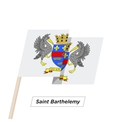 Saint Barthelemy Ribbon Waving Flag Isolated on vector