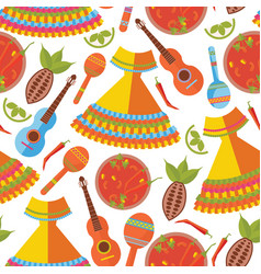 Seamless pattern on white background mexican vector