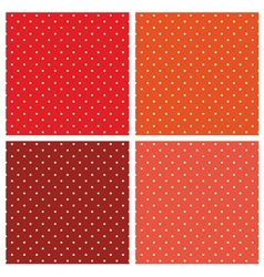Seamless pattern set white polka red background vector image
