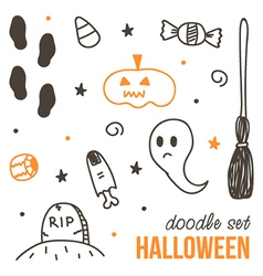 Set of cute black and orange halloween doodles vector image