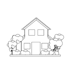 Silhouette house with two floors and trees vector