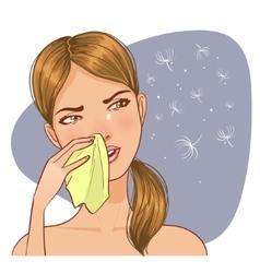 Sneezing in handkerchief woman because allergy vector