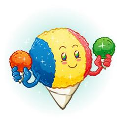 snow cone cartoon character holding frozen treats vector image
