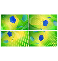 soccer backgrounds in colors of brazil vector image