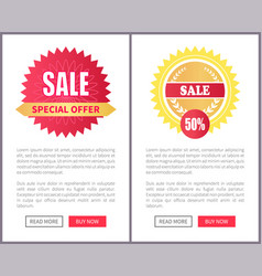 Special offer sale round stickers on leaflets text vector