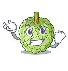 Successful character custard apple tropical fruit vector