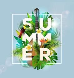 Summer holiday design with toucan bird parrot vector