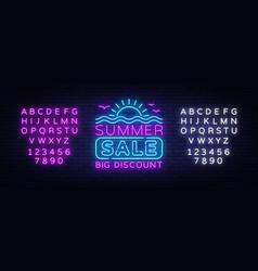 Summer sales neon banner bright neon vector
